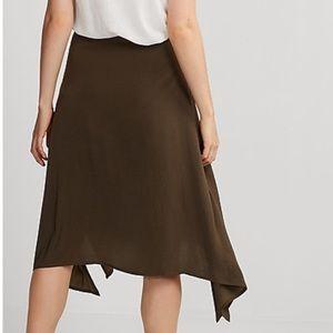 Express Asymmetrical Satin Midi Skirt Small